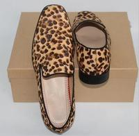 Newest Horsehair Leopard Slip On Men Loafers Sapatos Mujer Casual Shoes Flats Square Toe Men Shoes