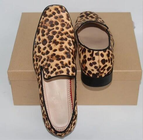 Newest Horsehair Leopard Slip On Men Loafers Sapatos Mujer Casual Shoes Flats Square Toe  Men Shoes Size 37-47