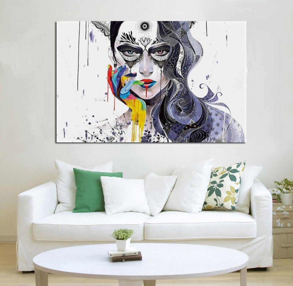 Deco Cadre Photo Mur ᐃminjae abstraite femmes portrait peintures mosaïque