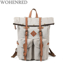 College style Men Canvas Backpacks School Bags for Teenagers Boys Girls Large Capacity Laptop Backpack Leather Travel Daypack new college backpack casual girls teenagers shoulder bags canvas zipper daypack book bag travel backpack