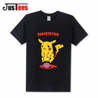2017 Newest Funny Cartoon Pikachu T Shirt Anime Pika Printed T Shirt Hipster Pokemon Go Zombiechu