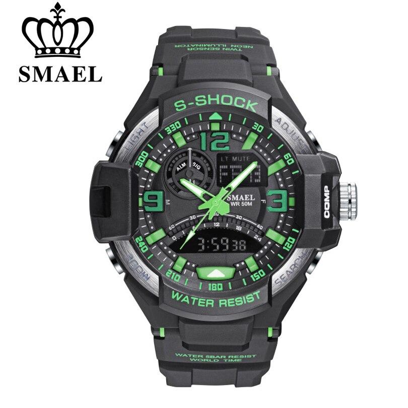 SMAEL Fashion Sport Super Cool Men Quartz Digital Watch Men Sports Watches Luxury Brand LED Military Waterproof Wristwatches Man