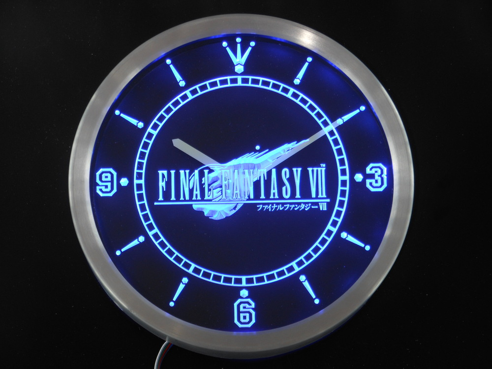 nc0197 Final Fantasy VII FF7 Neon Light Signs LED Wall Clocknc0197 Final Fantasy VII FF7 Neon Light Signs LED Wall Clock