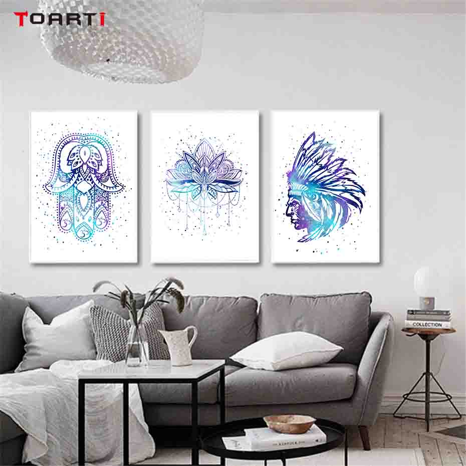 Colorful Indian Amulet Keys Lotus Feathers Wall Art Canvas Painting Prints And Poster Wall Pictures For Living Room Home Decor in Painting Calligraphy from Home Garden