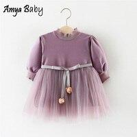 Amyababy 2018 ربيع جديد اللباس ل طفلة طويلة الأكمام الصلبة فساتين الوليد طفلة الأميرة توتو فساتين الدانتيل ل حزب
