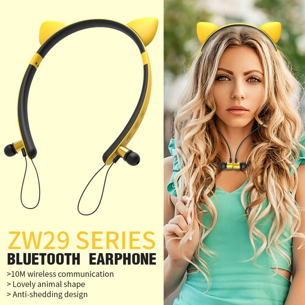 girl Bluetooth headphones Cosplay Wireless Earphone Magnetic Bluetooth Headset Cool  Lovely Earbuds With MIC Earphone