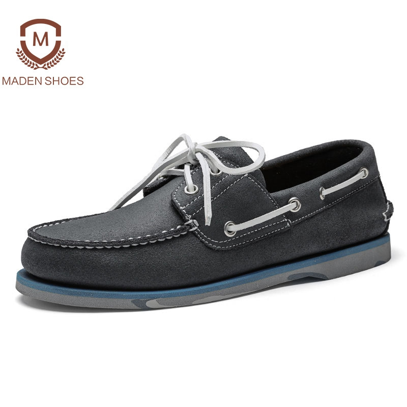 Maden 2018 Spring High Quality Men Leather Casual Shoes Classic Hand-made Boat Shoes Breathable Sneakers Retro Vintage Flats branded men s penny loafes casual men s full grain leather emboss crocodile boat shoes slip on breathable moccasin driving shoes