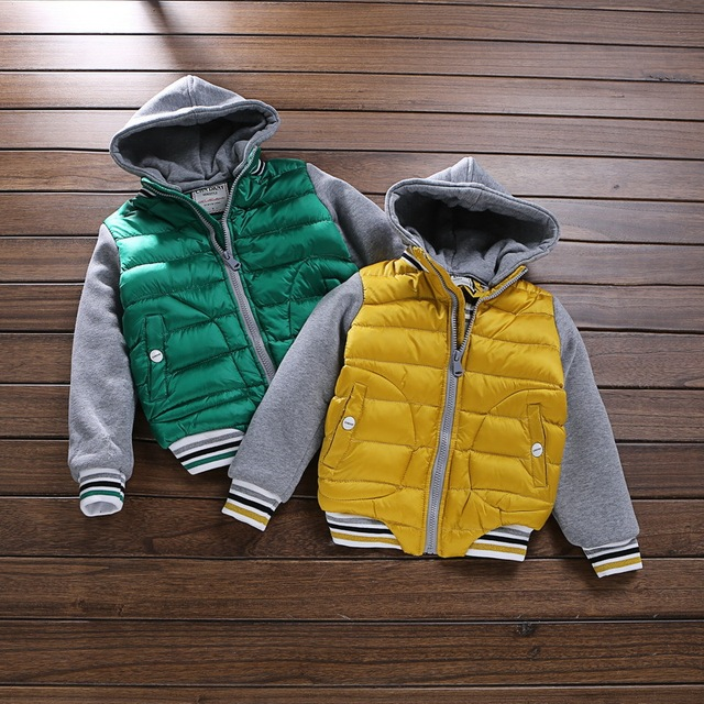 5 color Children Boys Color matching quilted Baseball uniform cotton-padded clothes hooded jacket Wholesale 2017