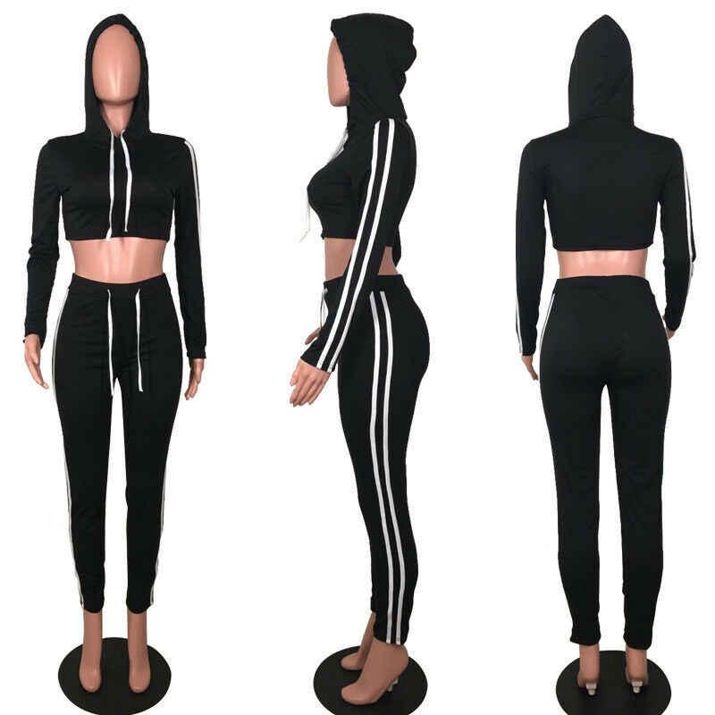Модный женский спортивный костюм из 2 предметов, пуловер, худи, толстовка, укороченные топы, штаны, спортивные костюмы, комплекты повседневной одежды, костюмы желтого и черного цвета