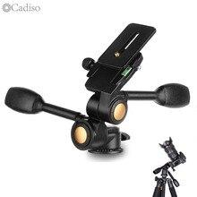 Cadiso Q80 Foto Tripé Cabeça Dupla Alça de Três Dimensional 3D Amortecimento Duas Lidar Com Ballhead para Câmera de Vídeo Tripé Monopé