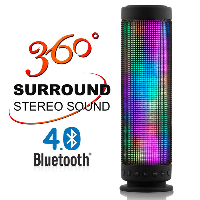 Wireless Portable Dance Bluetooth Speaker 5 LED Visual Modes 360 Degree Stereo Surround Mini Bluetooth Speaker Support TF card  360 degree dc 5v usb surround stereo bluetooth speaker portable rechargeable wireless led lights sound speaker for smartphone