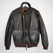 Jackets Tea-Core-Cowhide Vintage Genuine-Leather A2 Man Classic Tanned Military-Style
