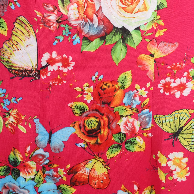 Oxiuly Womens Elegant Red Flower Flower Print Party Հատուկ - Կանացի հագուստ - Լուսանկար 6