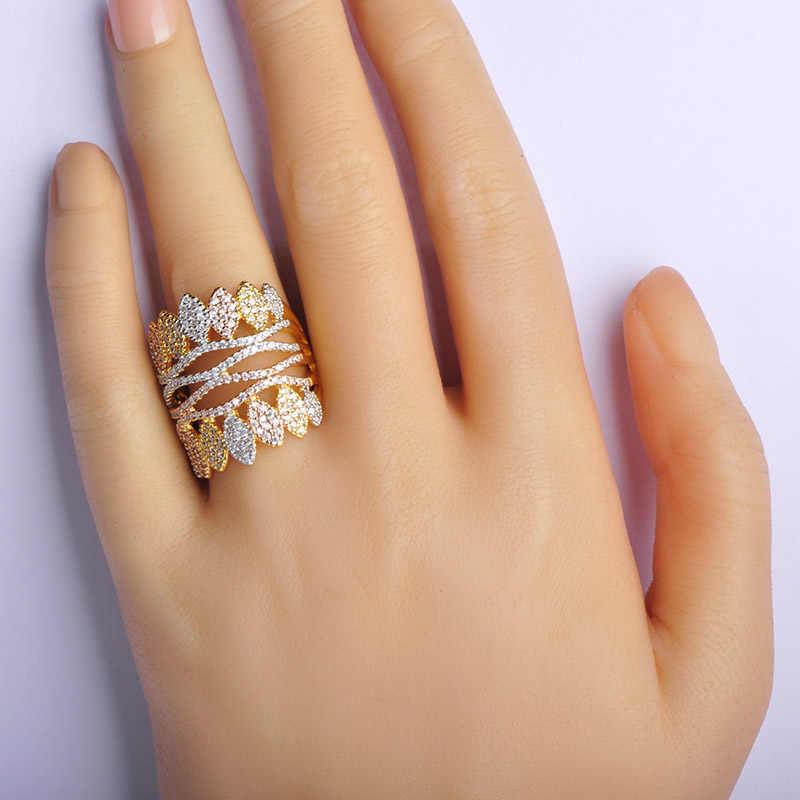 Dazz Новое поступление три тона покрытая Мужская медная цепь женские подарки на день Святого Валентина Свадебная вечеринка широкий цветок браслет кольцо наборы