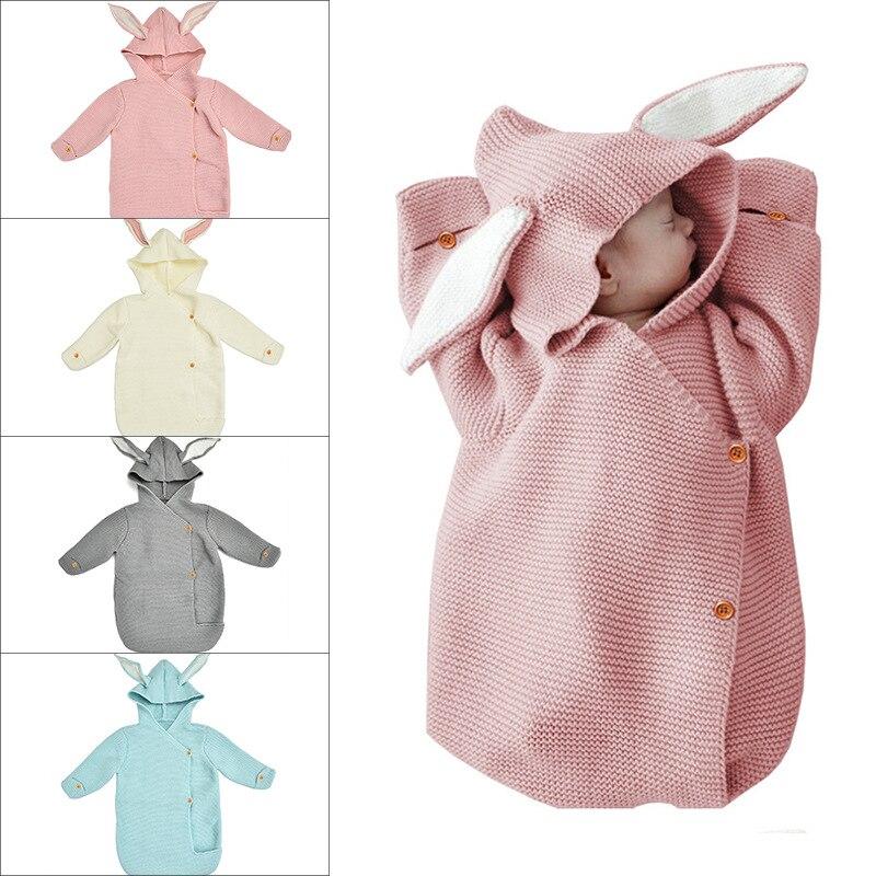 Cute Rabbit Baby Swadding Stroller Wool Wrap Blanket Sleeping Bag Spring Autumn Toddle Infant Knitted Nest Envelopes For Newborn