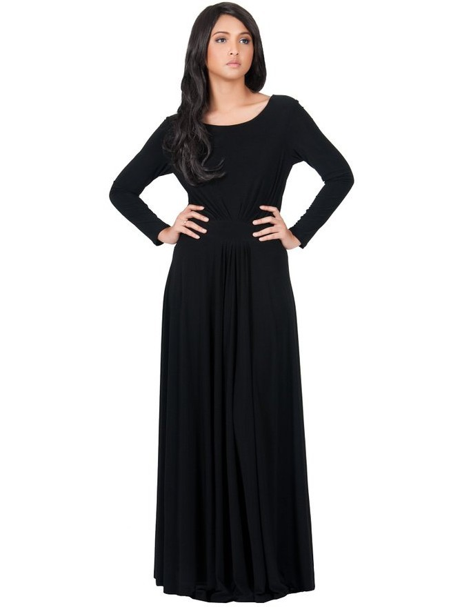 2017 Spring Long Sleeves O-Neck Solid Color M-XL 2XL 3XL Maxi Dress Floor-Length Black Blue White Women Party Dress