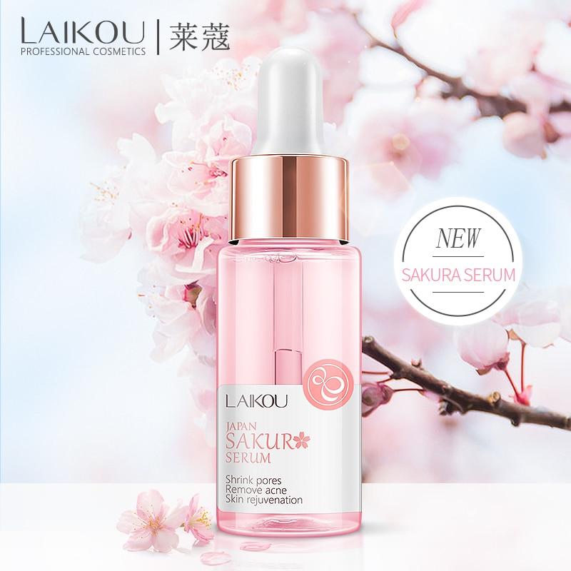 LAIKOU Sakura Serum Japan Extract Essence Shrink Pores Remove Acne Skin Rejuvenation Cherry Hyaluronatic Vitamin C Face Eyes