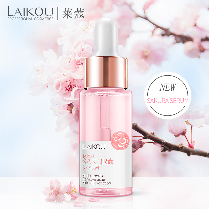 LAIKOU Sakura Serum Japan Extract Essence Shrink Pores Remove Acne Skin Rejuvenation Cherry Hyaluronatic Vitamin C Face Eyes image
