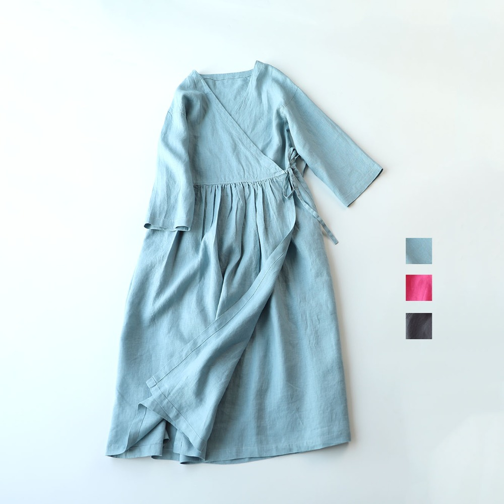 Spring Summer Women Loose Brief Japanese Style Comfortable Water Washed Linen V-neck Cardigan Dresses