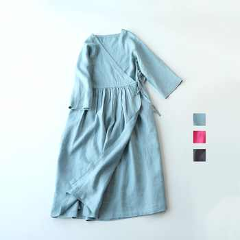 Spring Summer Women Loose Brief Japanese Style Comfortable Water Washed Linen V-neck Cardigan Dresses - DISCOUNT ITEM  20% OFF All Category