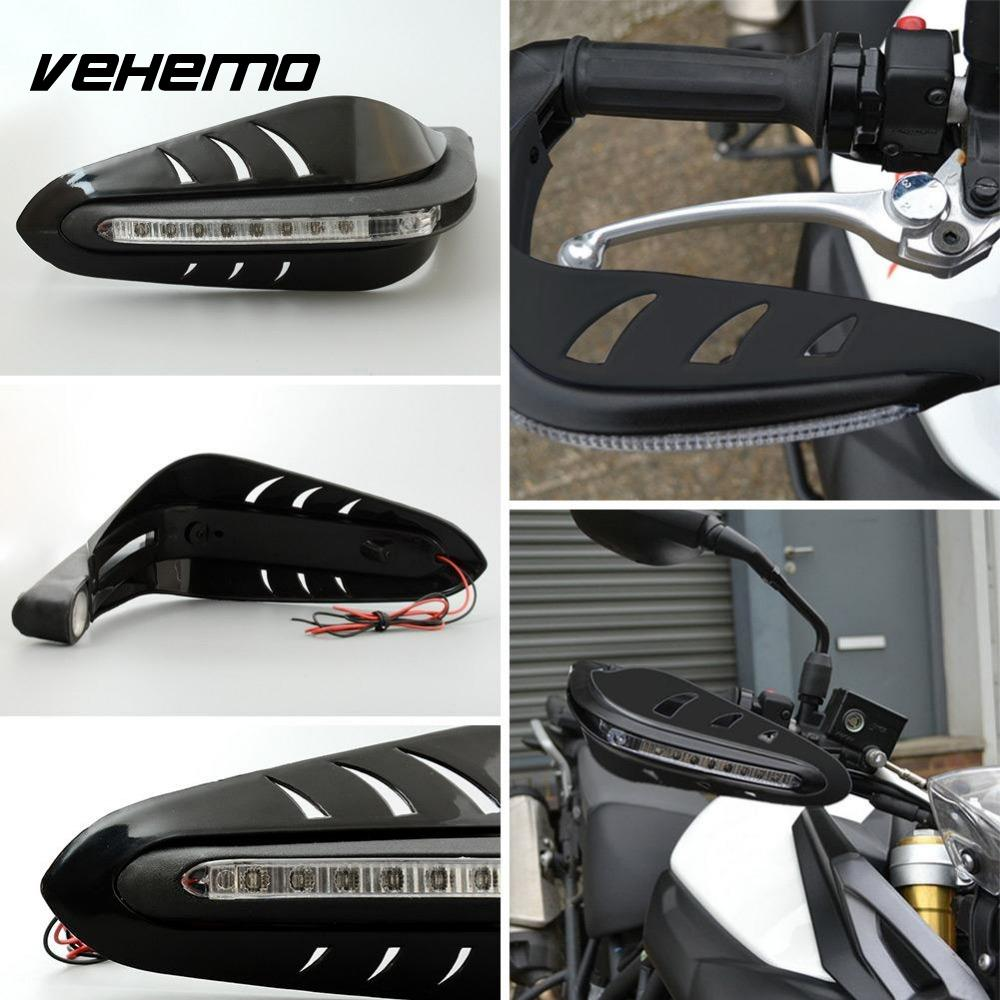 Vehemo Cool Black Motorbike Motorcycle Useful Handguard Protector LED DRL Signal Runing Light Lamp vehemo new good quality 17 universal transparent motorcycle motorbike windshield