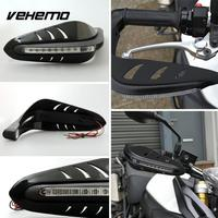 Cool Black Motorbike Motorcycle Useful Handguard Protector LED DRL Signal Runing Light Lamp