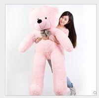 Super große schöne rosa plüsch teddybär spielzeug nette große augen bogen große gefüllte teddybär puppe geschenk über 180 cm