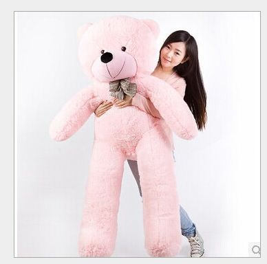 купить super huge lovely pink plush teddy bear toy cute big eyes bow big stuffed teddy bear doll gift about 180cm недорого
