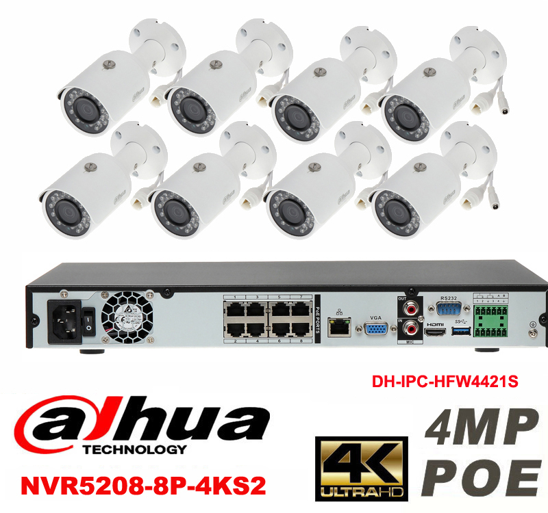 Dahua original 8CH 4MP H2.64 DH-IPC-HFW4421S 8pcs bullet IP security camera POE DAHUA DHI-NVR5208-8P-4KS2 Waterproof camera kit dahua 32ch nvr 16 poe 2u case 8 sata 1080p 200mbps gigabit rj45 android ios