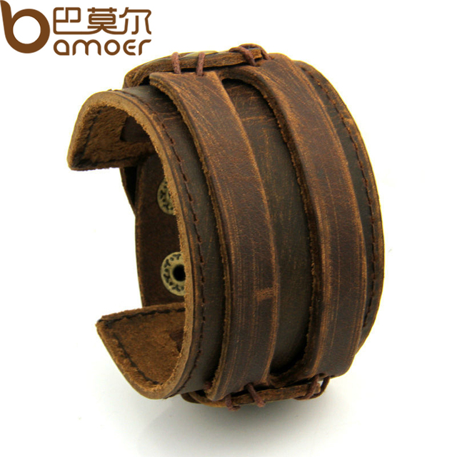 BAMOER Leather Cuff Double Wide Bracelet Rope Bangles Brown for Men Fashion Man