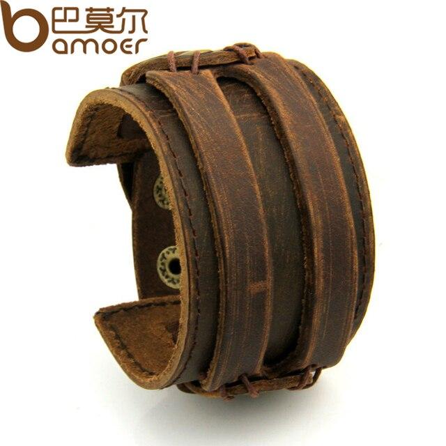 BAMOER Кожа манжеты двойной широкий веревочный браслет браслеты коричневый для Для мужчин модная мужская ювелирны браслет унисекс подарок PI0296