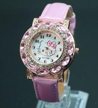 Лидер продаж рисунок «Hello Kitty» часы для девочек Для женщин Мода Кристалл платье кварцевые часы наручные детские часы 048-27