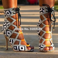 Factory Real Photo Lace up Patchwork Sandals White/black Chess Color Matched Cut out Dress Shoes Open Toe Strappy Sandal Boots