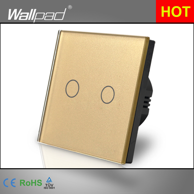 2 Gang Touch Wallpad Gold Crystal Glass EU UK 110V-220V 2 Gangs 2 Way 3 Way Position Touch Button Wall Lights Lamp Switch hot sales 1 gang 2 way wallpad crystal glass uk eu double control push button light wall switch amazing discount
