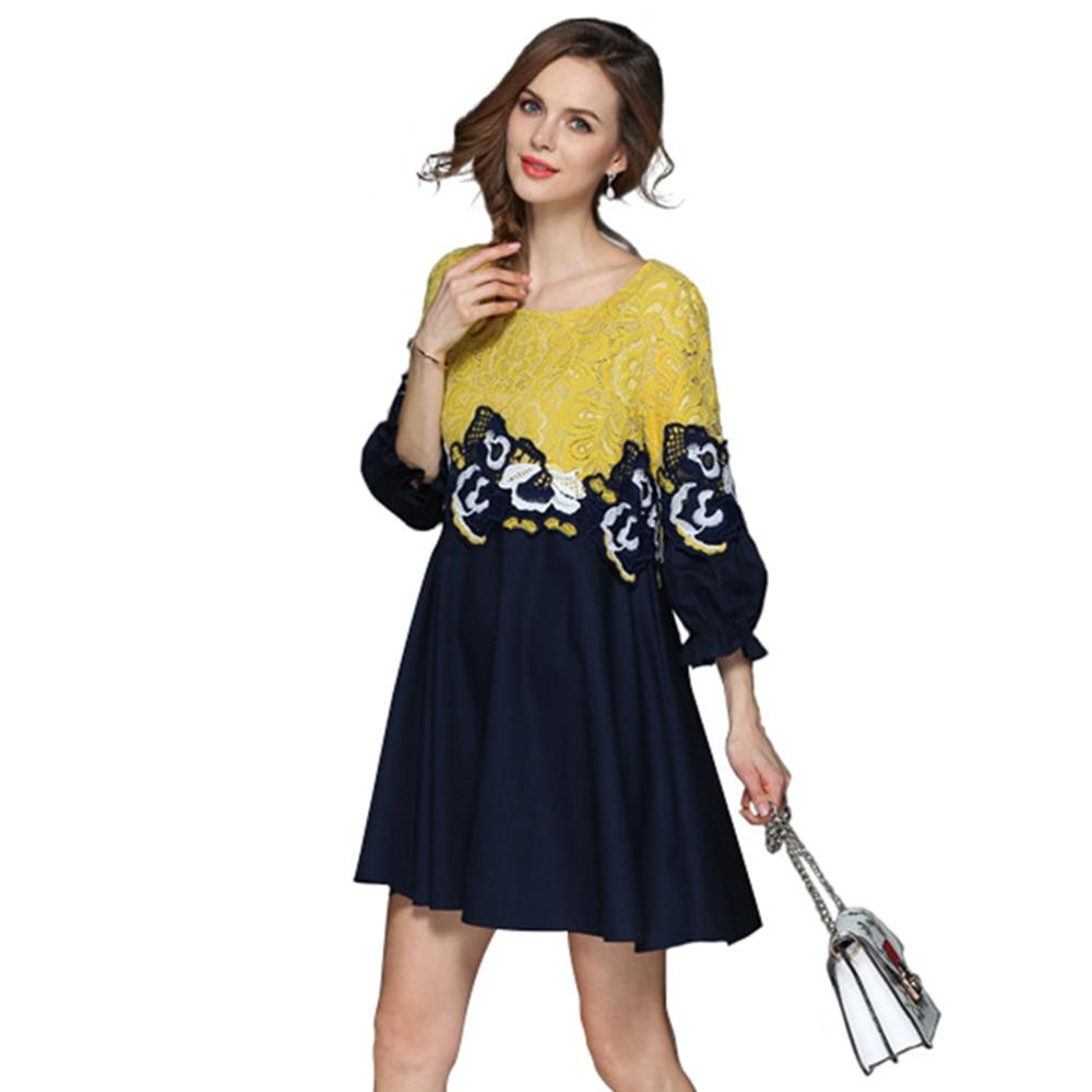 2ee4e82066f7 loose t shirt dress three quarter sleeve self portrait dresses yellow mini  short club lace dress pinup office summer dress 2018