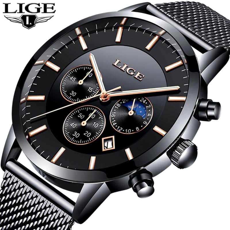 LIGE Hommes Montre Top Marque Montre Mode Montres Relogio Masculino Militaire Quartz Hommes Montres Horloge Mâle Sport Doble une fois