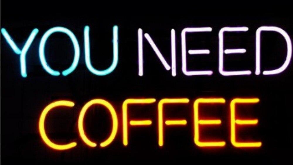 Personnalisé vous avez besoin de café en verre néon signe barre de bière
