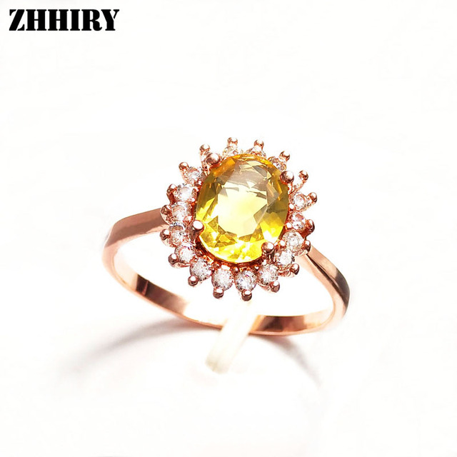 Women 925 Sterling Silver Natural Citrine Ring Lady Crystal Gemstone Genuine Jewelry Flower Style