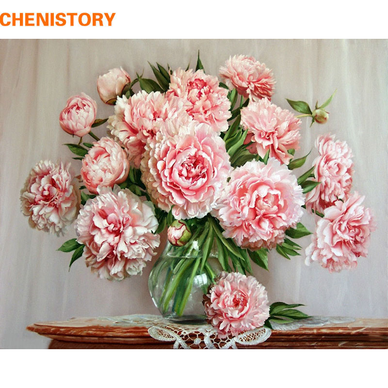 CHENISTORY No Frame DIY Painting By Numbers Pink Flowers Home Decoration Wall Art Picture Paint Acrylic On Canvas Gift 40x50cm