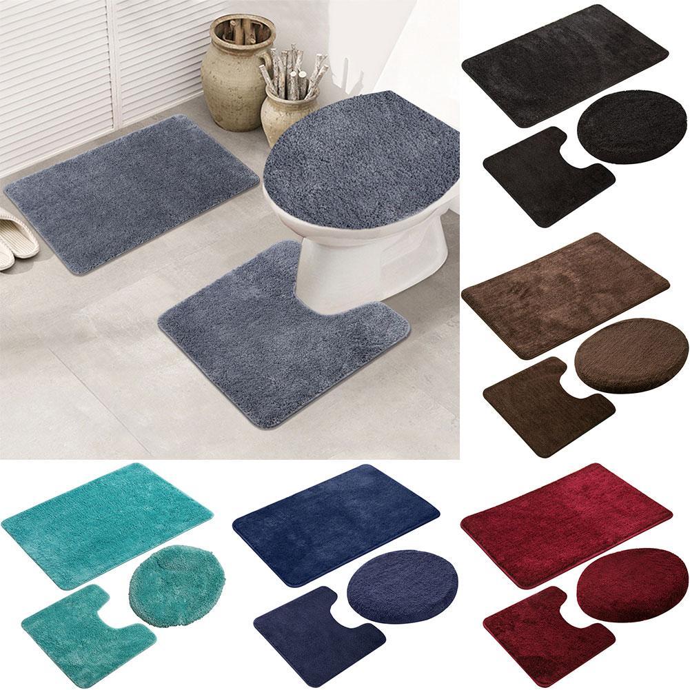 3 pièces couleur unie tapis de bain toilette couvercle couverture tapis salle de bain douche anti-dérapant tapis