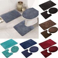 3Pcs Solid Color Bath Mat Toilet Lid Cover Rug Bathroom Shower Anti Slip Carpet
