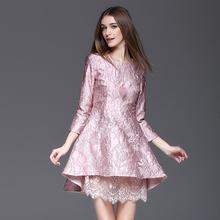 2017 New Arrival Brief Asymmetrical Three Quarter Lace Patchwork Spring font b Dresses b font Pink