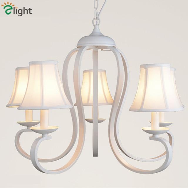 nordique romantique led lustres lampe lustre blanc tissu salle manger led bougie lustre. Black Bedroom Furniture Sets. Home Design Ideas