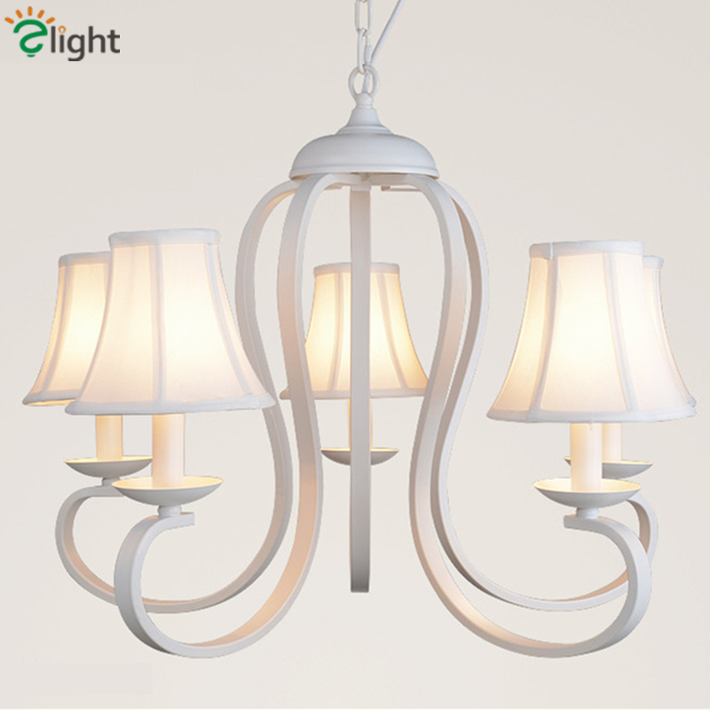 Retro Metal Led Chandeliers Lighting White Fabric Shades Dining Room Led Pendant Chandelier Lights Bedroom Hanging Lamp Fixtures modern fashion large spider braided chandeliers white black fabric shades diy 10 heads clusters of hanging ceiling lamp lighting