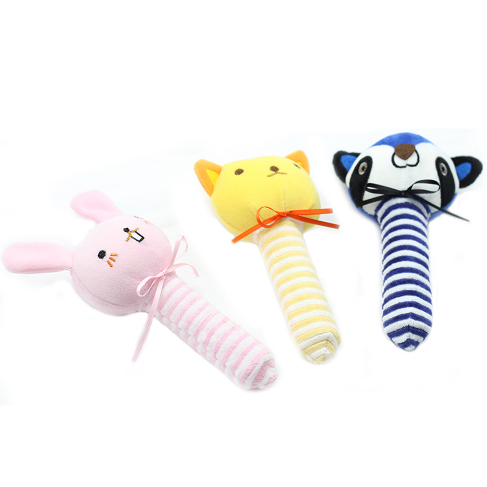 6Pcs Plastic Baby Hand Shake Bell Ring Rattles toys Baby Educational Toys TK