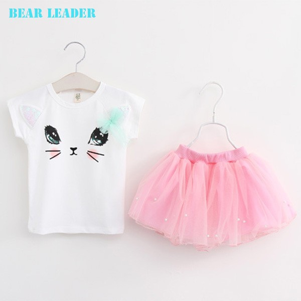 Bear Leader Girls Clothing Sets New Summer Fashion Style Cartoon Kitten Printed T-Shirts+Net Veil Dress 2Pcs Girls Clothes Sets 44