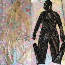 라텍스 catsuit 투명 전체 커버 라텍스 unitard 마스크 장갑 양말