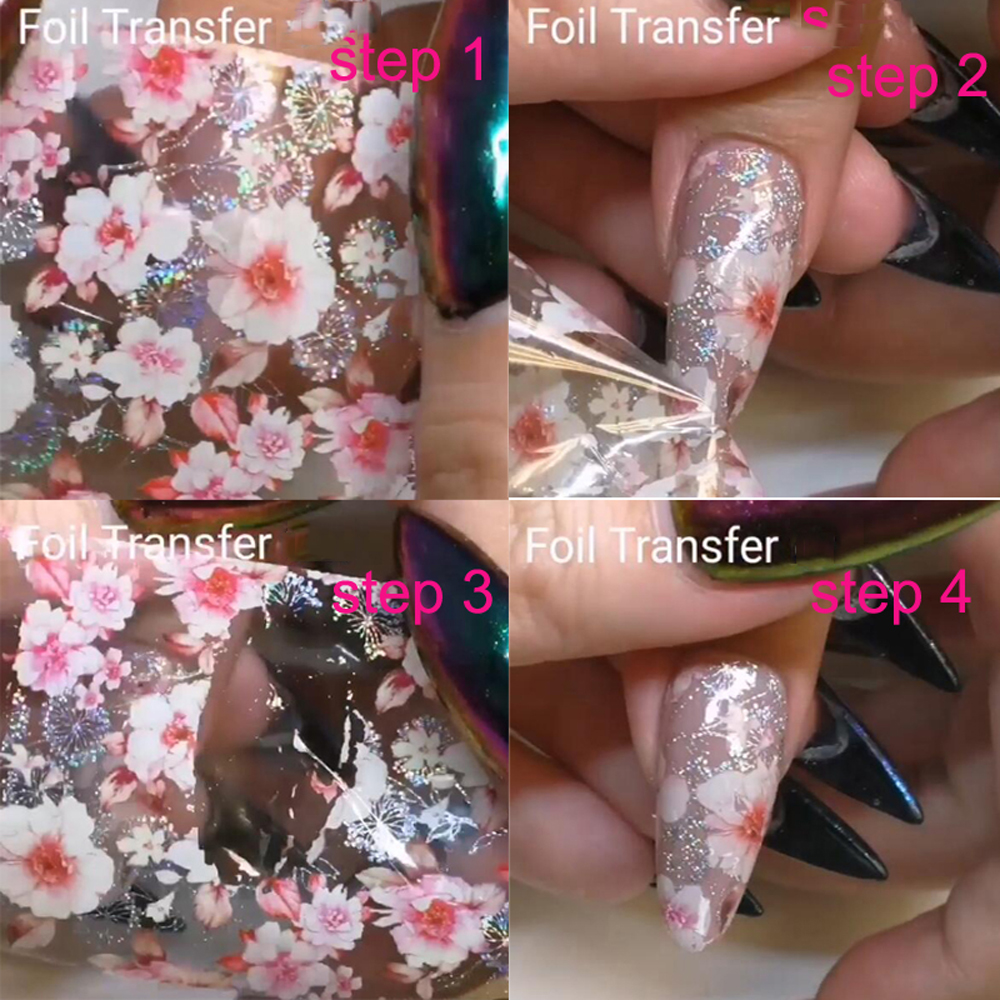 Holographic Nail Art Stickers Tips Wraps Foil Transfer Adhesive Glitters Acrylic Diy Decoration 10pcs 10 Colors 2 5cm 100cm Stickers Decals Aliexpress