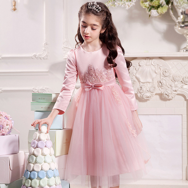 bfe972ac2 Girl party dress autumn winter white pink gray wedding princess 4 5 ...