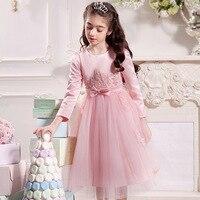 Girl Party Dress Autumn Winter White Pink Gray Wedding Princess 4 5 6 7 8 9